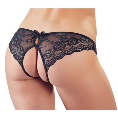 Crotchless Floral Lace Pantie Black