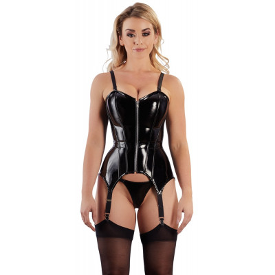 Shiny Black Suspender Basque