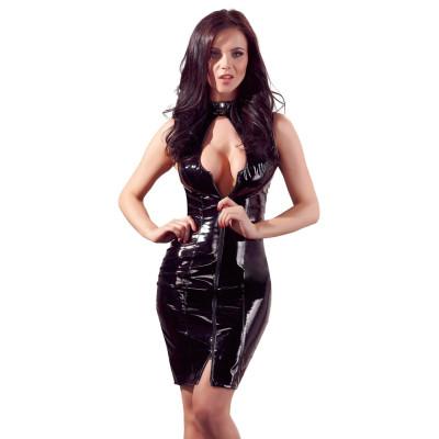 Длинное виниловое платье со шнуровкой сзади