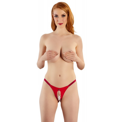 Crotchless Red Vinyl String with Chain