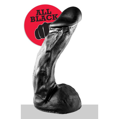Big Black Dick with balls and suction base 28 cm