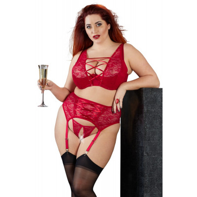 Seductive Plus Size Red Lingerie Set