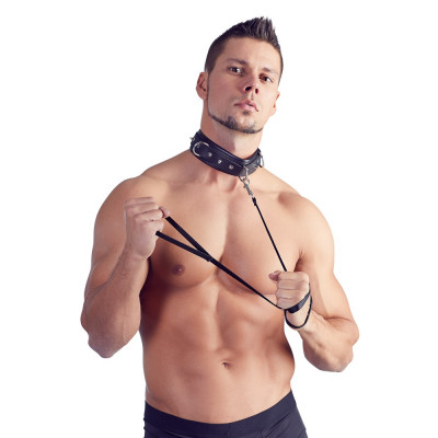 Padded Collar with Spikes and Leash