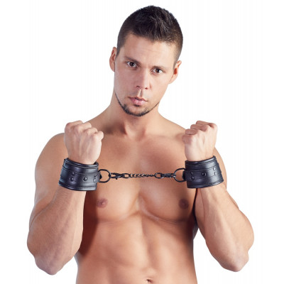 Padded Imitation Leather Handcuffs Black