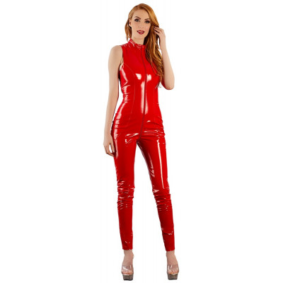 Provocative Red Vinyl Jumpsuit