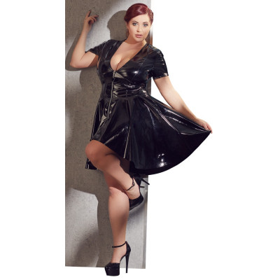 Plus Size Flared Black Vinyl Dress