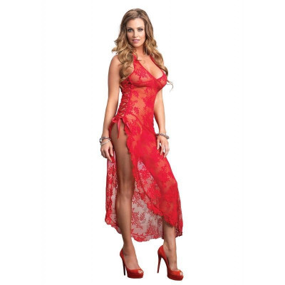 Rose Lace Long Gown with High Slit