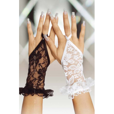 Black Lace Gloves with Fingerloop