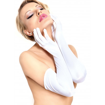 Elbow Length White Satin Gloves