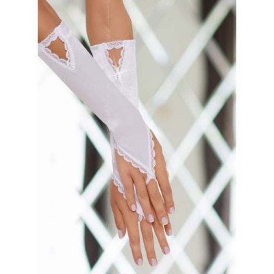White Satin Gloves with Finger Loop and Rhinestones