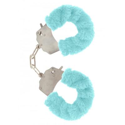 Aqua Furry Metal Handcuffs