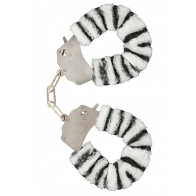 Zebra Furry Metal fun Handcuffs