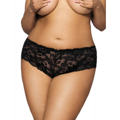 Plus Size Flirty Black Floral Lace Short