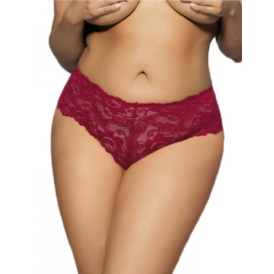 Plus Size Hot Red Floral Lace Short