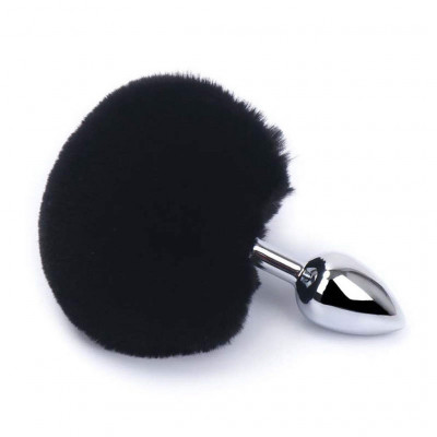 Small Aluminium butt Plug with Black Bunny synthetic Tail
