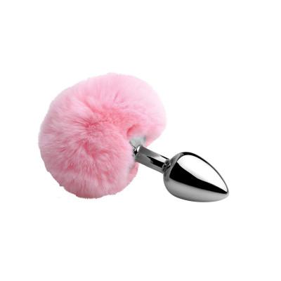 Μικρή ρόζ πρωκτική σφήνα αλουμινίου μέ συνθετική ουρά κουνελάκι