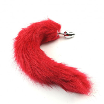 Small size aluminium Anal Plug Red Fox tail