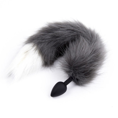 Grey Fox Tail Small black silicone plug