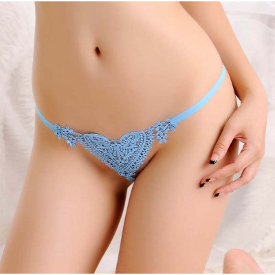 Crotchless Embroidered Heart String with Pearl Blue
