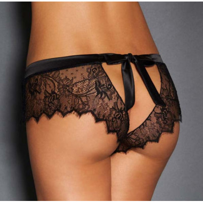 Provocative Black Lace Knickers with Bow Back