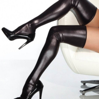 Wet Look Thigh High Stocking Black