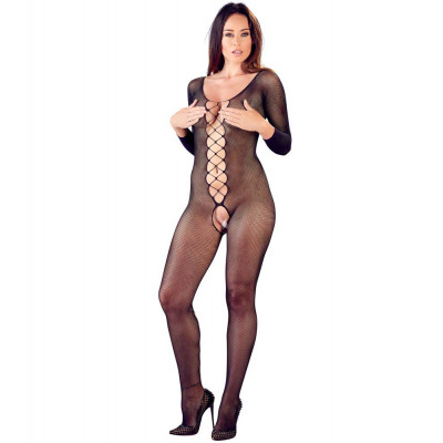 Fishnet Crotchless Catsuit with Lacing