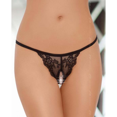 Crotchless Floral Lace String Black
