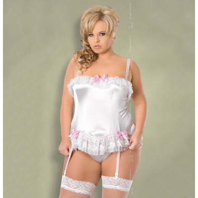 Plus Size xSybil Satin Corset White