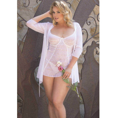 Plus Size Laura Chemise with String White