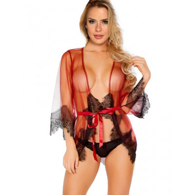 Unwrap Me Mesh Kimono with String Red