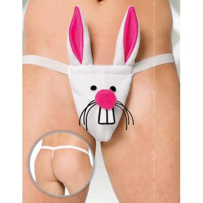 Стринги мужские Кролик, бело-розовые