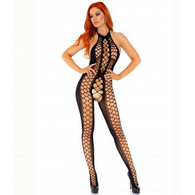 Backless Halter Net Bodystocking
