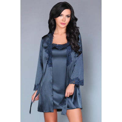 Navy Blue Kimono with Chemise and String