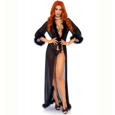 Leg Avenue Marabou robe with String Black