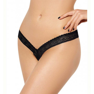 Plus Size Tiny Lace Black String
