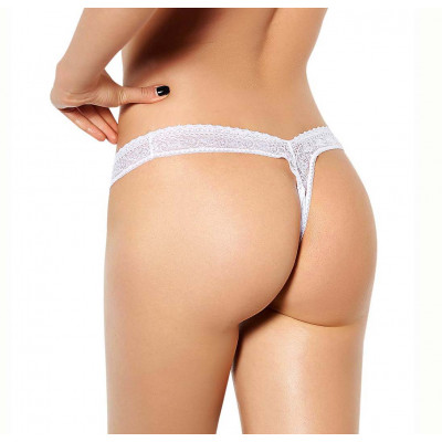 Plus Size Flirty Lace White String