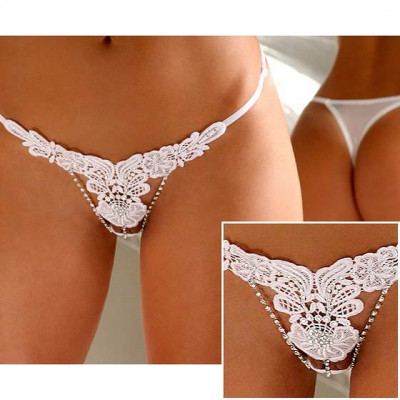 Plus Size Embroidered Floral G-String White