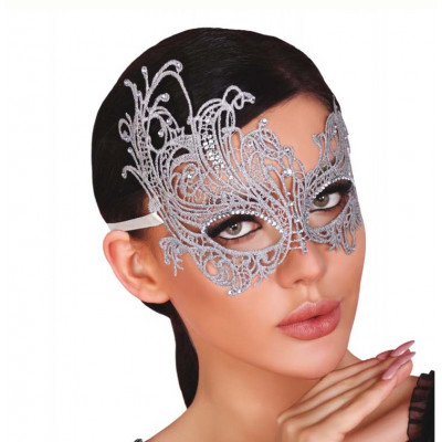 Silver Eye Mask with Rhinestones