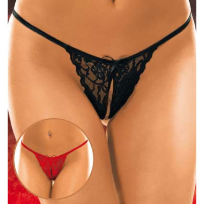 Crotchless Floral Lace String Red