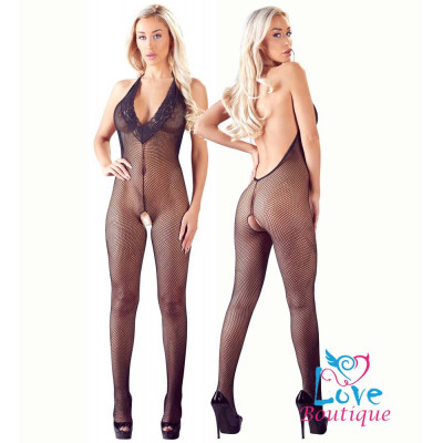 Coarse Net Halter Crotchless Catsuit