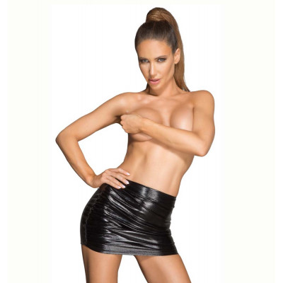 Noir Imitation Leather Mini Skirt