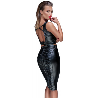 Noir Knee-Length Pencil Skirt with Lacing