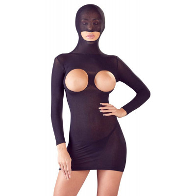 Open Breasts Mini Dress with Hood