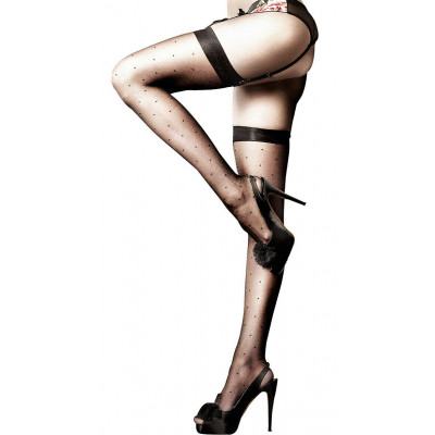 Baci Sheer Dot Thigh High Os Black