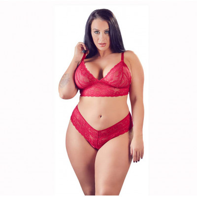 Cottelli Plus Size Red Lace Bra with Briefs