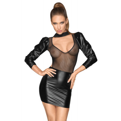 Noir Sleeveless Mesh Shiny Mini Dress