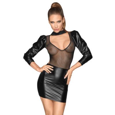 Noir Sleeveless Mesh Shiny Mini Dress