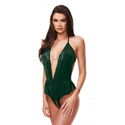 Baci Sexy Satin Teddy Green