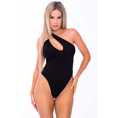 One Shoulder Seamless Bodysuit Black
