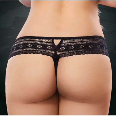 PLUS SIZE Low Rise Lace Thong Black